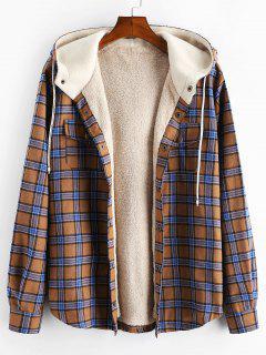 Plaid Chest Pocket Fleece Drawstring Hooded Jacket - Camel Brown L