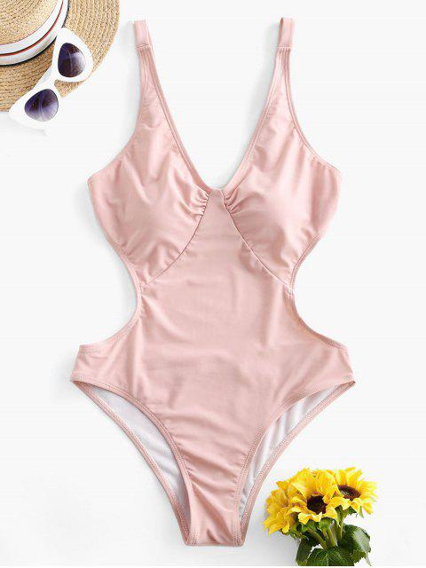 womens ZAFUL Plunging Tie Back Backless One-piece Swimsuit - PIG PINK S Mobile