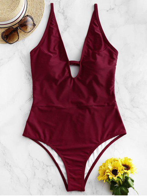 outfits ZAFUL Plunge Tie Low Back One-piece Swimsuit - FIREBRICK M Mobile