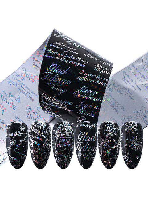 ladies Rose Graphic Pattern Nail Stickers - BLACK  Mobile