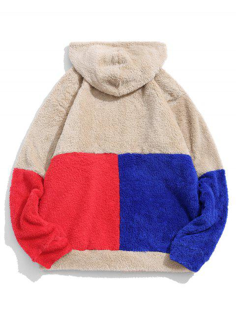 ZAFUL color de bloqueo de empalme La mitad de la cremallera con capucha Fuzzy - Caqui Claro M Mobile