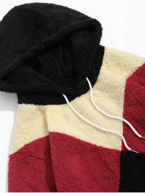 ladies Colorblock Spliced Drawstring Fluffy Faux Fur Hoodie - BLACK M Mobile