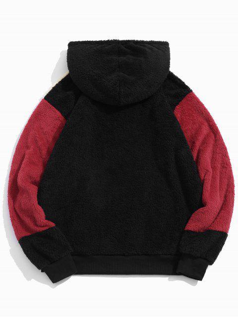 Colorblock empalmado con cordón mullido con capucha de piel sintética - Negro L Mobile