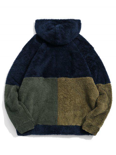 ZAFUL color de bloqueo de empalme La mitad de la cremallera con capucha Fuzzy - Cadetblue M Mobile