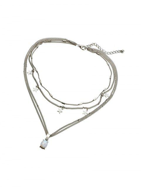 Geschichtete Stern Halskette - Silber  Mobile