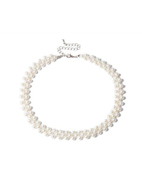 outfits Pearls Weaving Choker Necklace - WHITE  Mobile