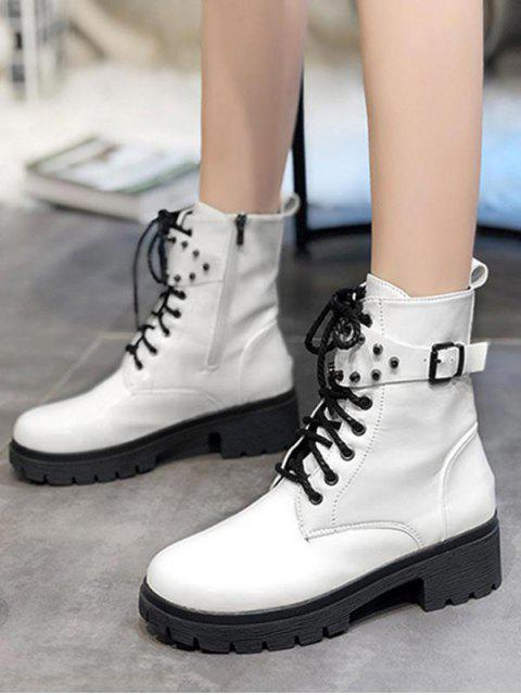 outfits Buckle Accent Chunky Heel Mid Calf Boots - MILK WHITE EU 35 Mobile