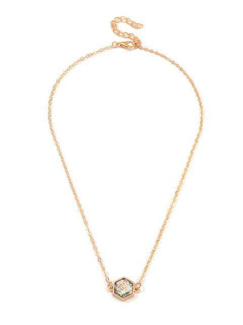 Крест Геометрическое Ожерелье на ключице Сердце - Золотой Шестиугольник Mobile