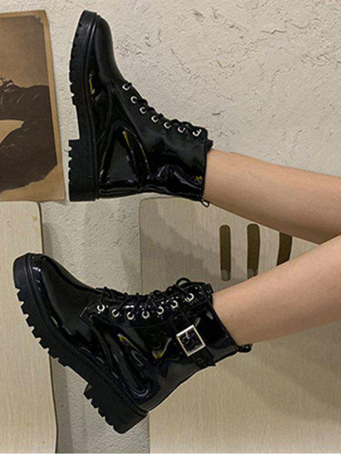 lady Buckle Accent Patent Leather Cargo Boots - BLACK EU 37 Mobile