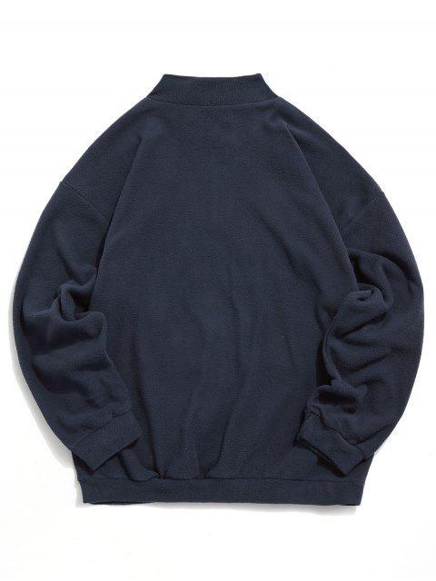 La camiseta de hombro bordado de la letra mullido gota - Cadetblue 2XL Mobile