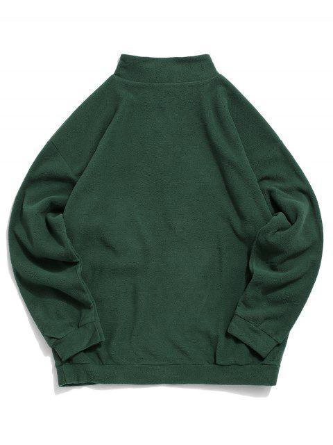La camiseta de hombro bordado de la letra mullido gota - Verde Oscuro XL Mobile