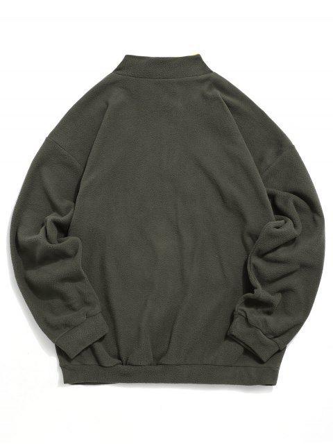 La camiseta de hombro bordado de la letra mullido gota - Gris Pardo 2XL Mobile