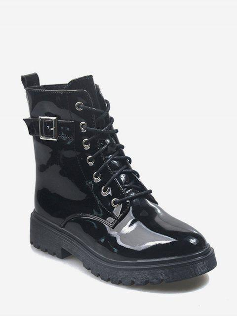 trendy Buckle Accent Patent Leather Cargo Boots - BLACK EU 38 Mobile