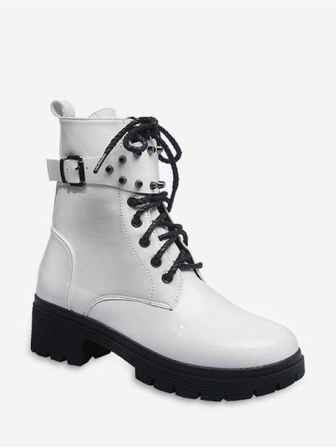 womens Buckle Accent Chunky Heel Mid Calf Boots - MILK WHITE EU 39 Mobile