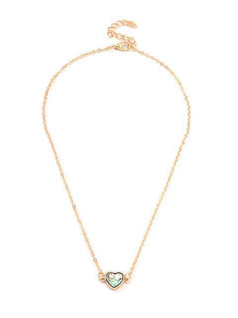 Collier de Clavicule Croix Géométrique Cœur - Or COEUR Mobile