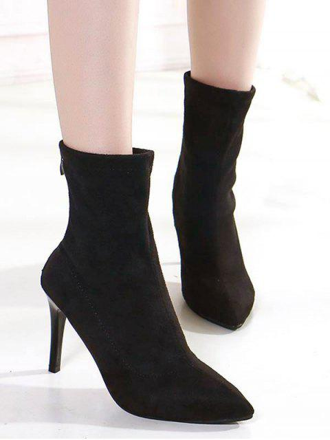 chic High Heel Pointed Toe Suede Boots - BLACK EU 37 Mobile