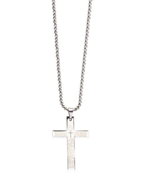 Collier Lettre Croix Bible Pendant - Argent Ordinaire Mobile