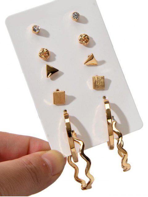6 пары Геометрические Серьги-пусеты Набор - Золотой  Mobile