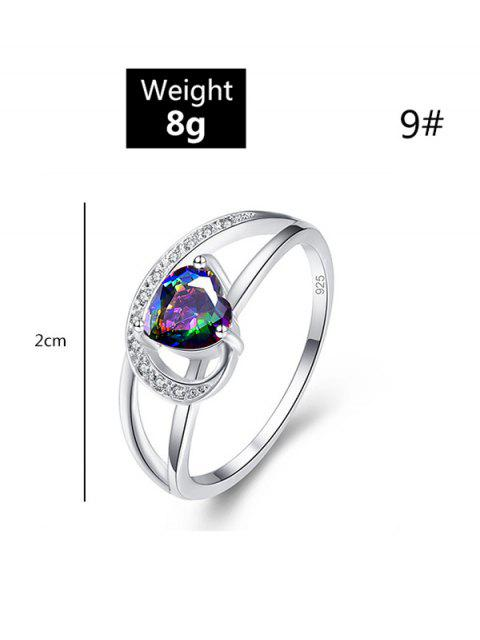 latest Hollow Heart Zircon Engagement Ring - SILVER US 8 Mobile