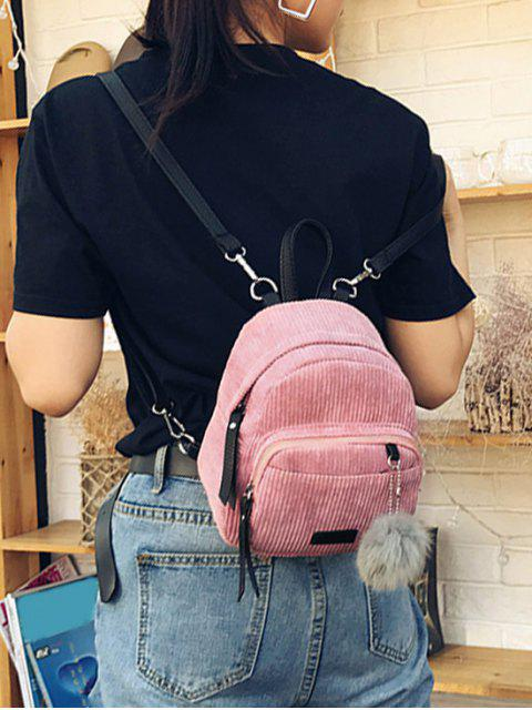 sale Canvas Fuzzy Ball Small Backpack - PINK  Mobile