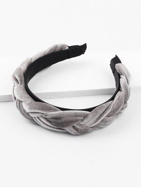 hot Velour Solid Braid Wide Hairband - GRAY  Mobile