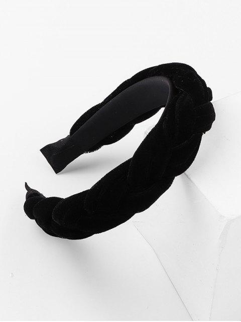 Велюр Одноцветная Широкая Головная Повязка - Чёрный  Mobile