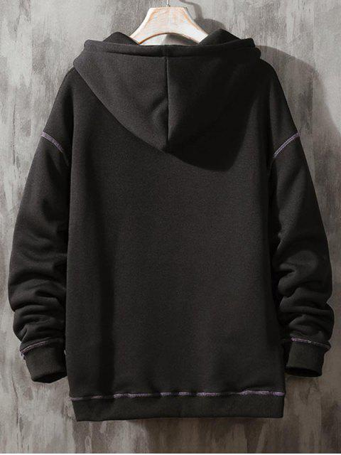 Carta bordado costuras en contraste Fleece con capucha - Negro M Mobile