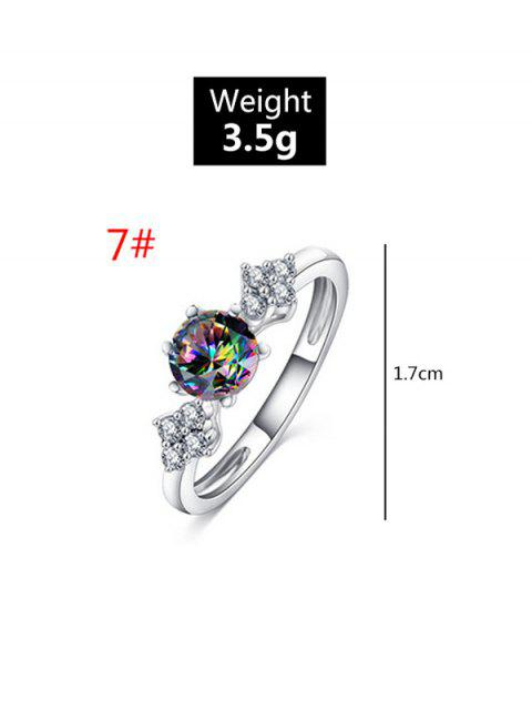 outfits Metal Round Zircon Engagement Ring - SILVER US 7 Mobile