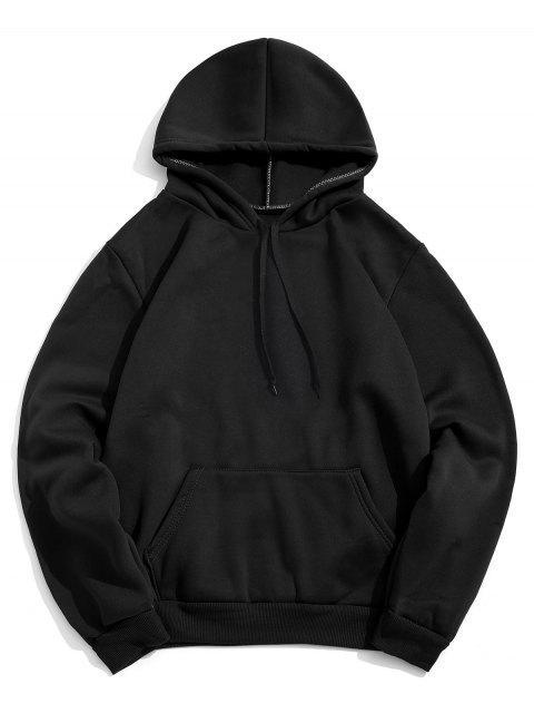 Diseño sólido del bolsillo del color con capucha informal - Negro M Mobile