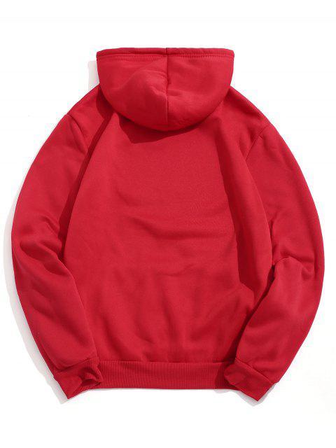 Diseño sólido del bolsillo del color con capucha informal - Rojo L Mobile