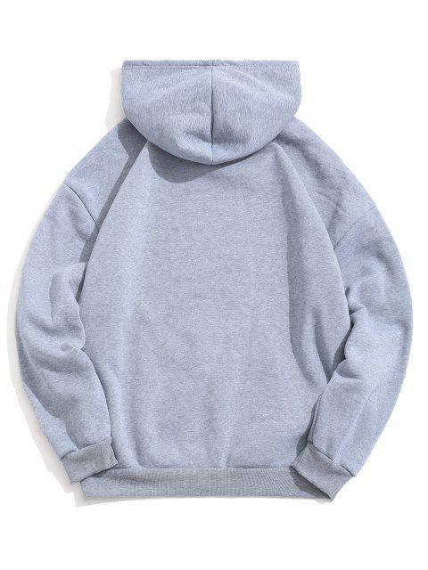 Diseño sólido del bolsillo del color con capucha informal - Nube Gris L Mobile