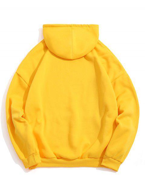 Diseño sólido del bolsillo del color con capucha informal - Amarillo M Mobile