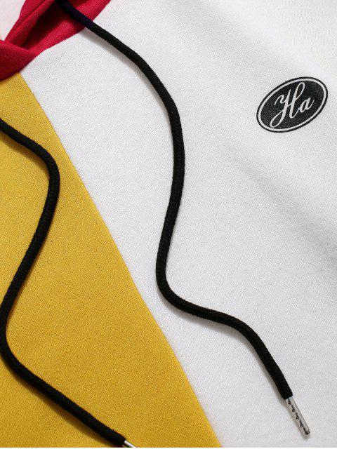 Colorblock de empalme de impresión del logotipo Pullover Fleece con capucha - Amarillo Brillante L Mobile