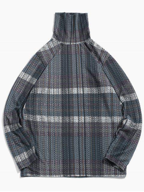 Casual manga larga de cuello alto camiseta - Gris L Mobile