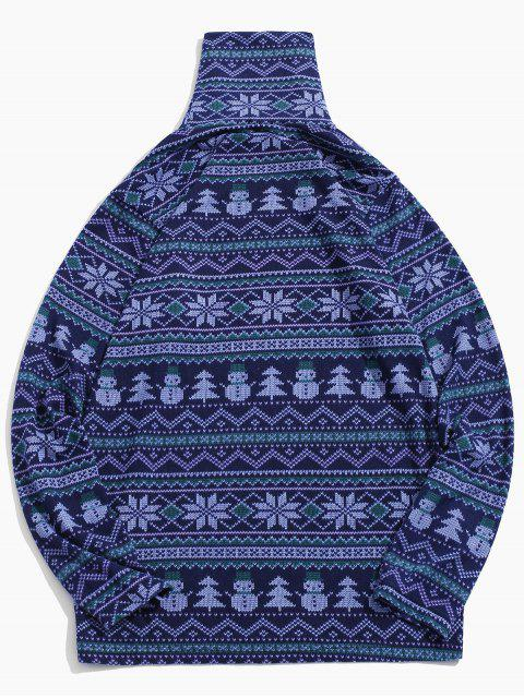 Patrón de copo de nieve muñeco de nieve camiseta de cuello alto - Azul Lavanda 2XL Mobile