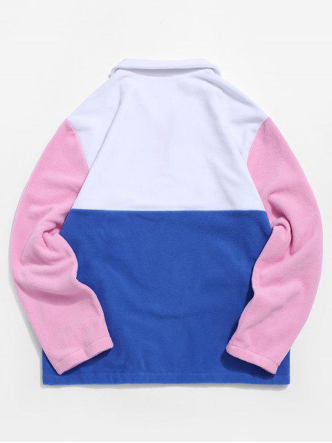 Colorblock Emenda Meio Zipper Distorcido Moletom - Branco S Mobile