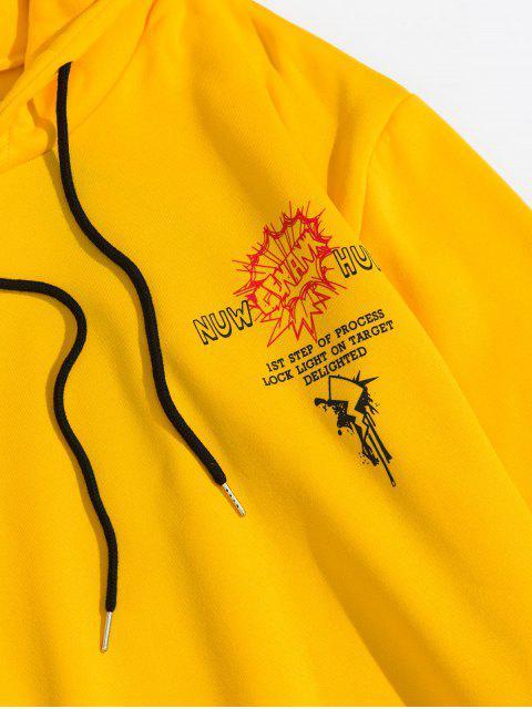 Modelo gráfico de Colorblock con capucha informal - Amarillo 3XL Mobile