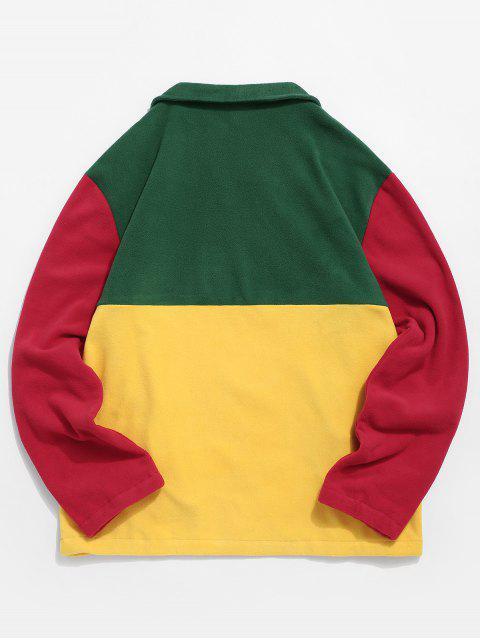 Colorblock Empalme La mitad de la cremallera Sudadera Pullover Fuzzy - Verde de Jungla  L Mobile