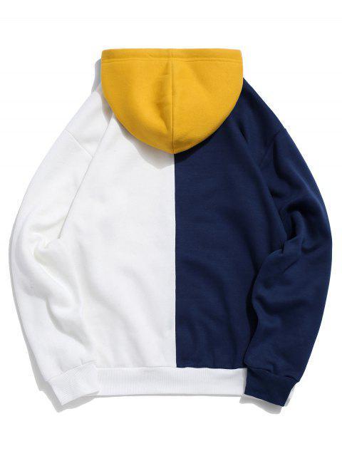Colorblock de empalme de impresión del logotipo Pullover Fleece con capucha - Cadetblue 2XL Mobile