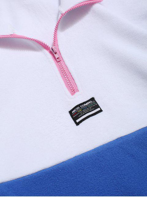 Colorblock Empalme La mitad de la cremallera Sudadera Pullover Fuzzy - Blanco M Mobile