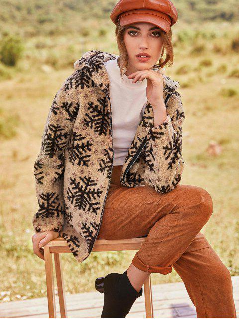ZAFUL Manteau à Capuche de Noël Flocon de Neige Zippé Fourré - Marron Camel S Mobile
