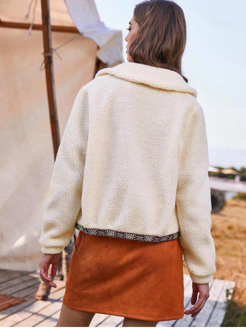 ZAFUL Manteau Ouvert en Avant à Ourlet Brodé - Blanc Chaud L Mobile