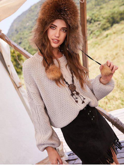 best ZAFUL Pullover Oversized Crew Neck Cable Knit Sweater - PLATINUM M Mobile