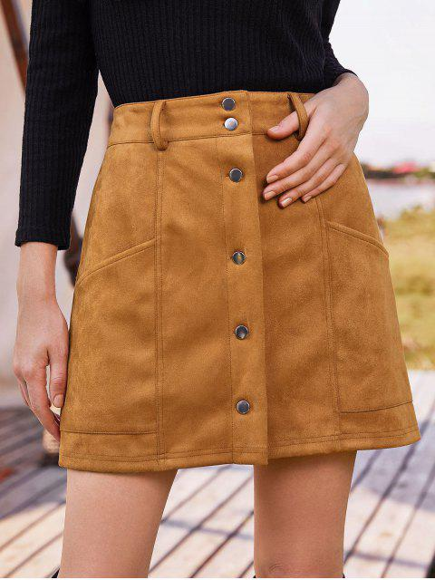 buy ZAFUL Pockets Button Up Faux Suede Mini Skirt - ORANGE SALMON S Mobile