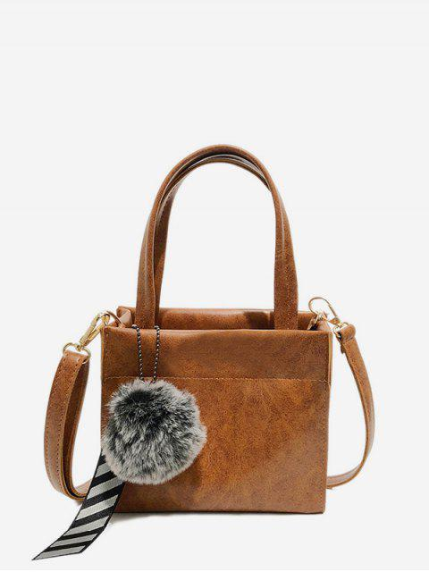ladies Fuzzy Ball Pendant Small Shoulder Bag - LIGHT BROWN  Mobile