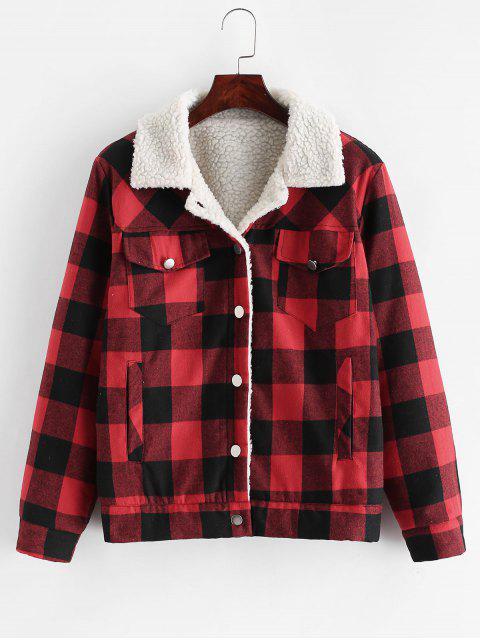 Botón encima de la tela escocesa de los bolsillos de la chaqueta de piel de oveja - Rojo M Mobile