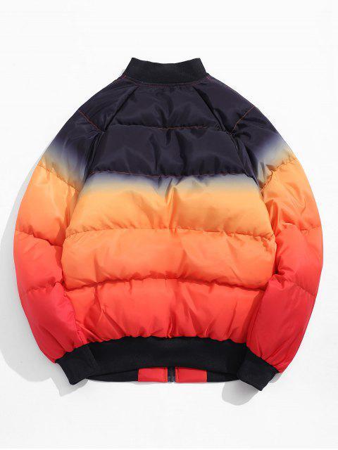 El bloqueo de color postal Hasta acolchada chaqueta - Mandarina M Mobile