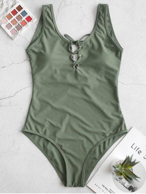 buy ZAFUL Lace Up Open Back One-piece Swimsuit - CAMOUFLAGE GREEN M Mobile