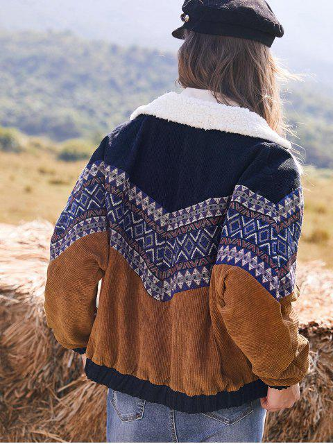 ZAFUL Abotoamento Imprimir Tribal Jacket Faux Shearling Painel Corduroy - Multi M Mobile