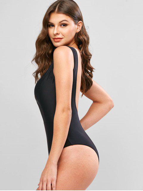 outfits ZAFUL Mesh Insert Plunging Backless One-piece Swimsuit - BLACK XL Mobile